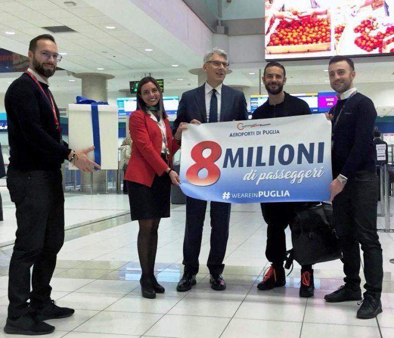 Aeroporti di Puglia: superati gli 8 milioni di passeggeri su Bari e Brindisi