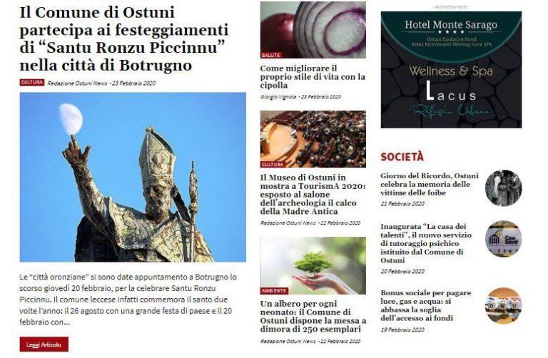 La home page di Ostuni News indossa da oggi una nuova veste grafica
